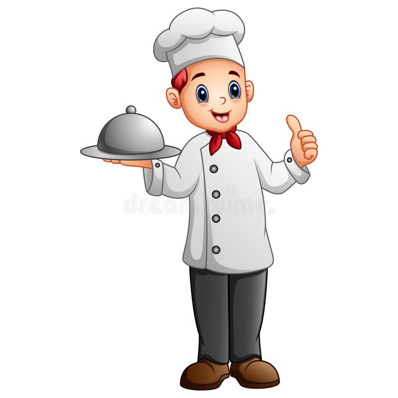 Cuoco unico che tiene un vassoio dell'alimento del metallo e che mostra pollice su royalty illustrazione gratis