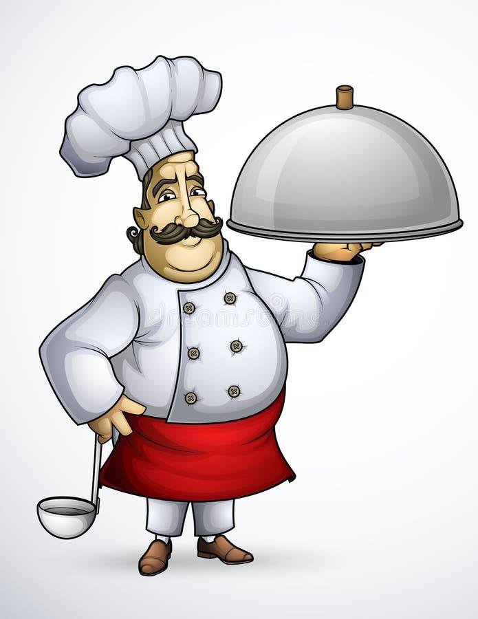 Cuoco unico con i piatti di una firma illustrazione vettoriale