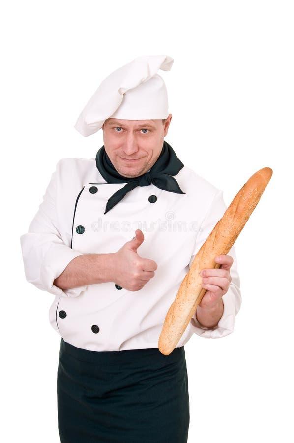 Cuoco unico con il baguette immagine stock libera da diritti