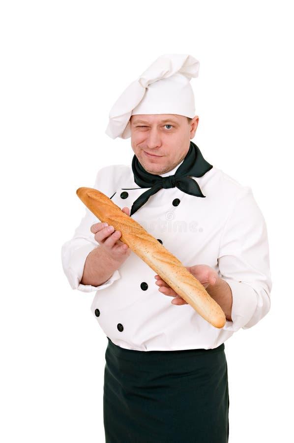 Cuoco unico con il baguette fotografia stock libera da diritti
