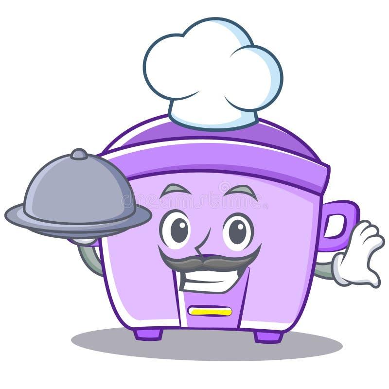 Cuoco unico con il fumetto del carattere del fornello di riso dell'alimento illustrazione di stock