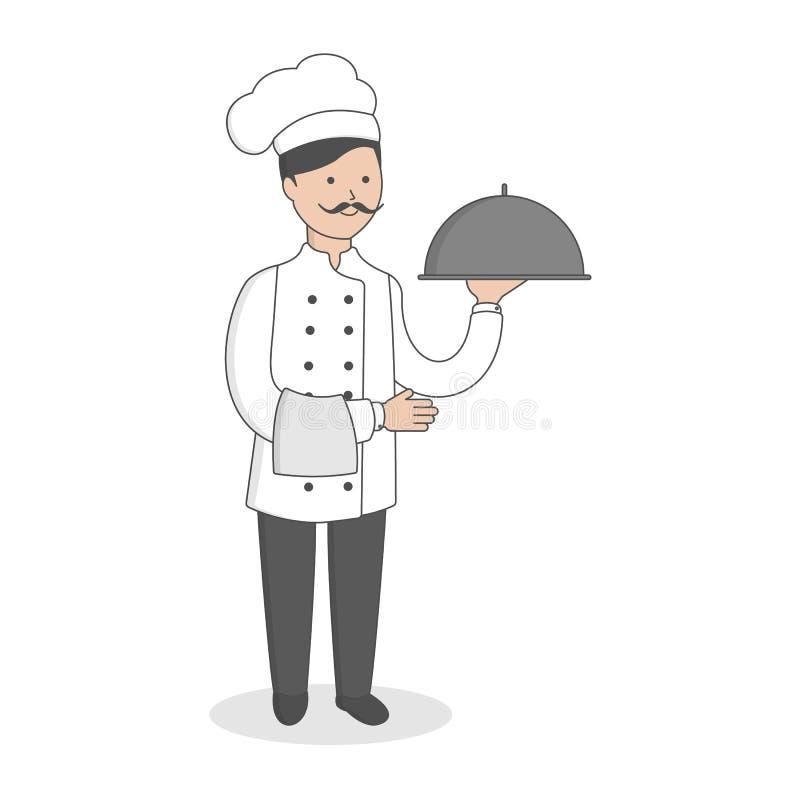 Cuoco unico con il pasto illustrazione vettoriale