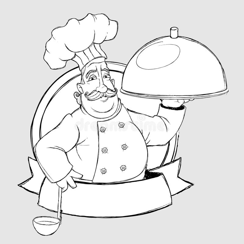 Cuoco unico con il piatto nel segno. Stile del disegno a mano libera illustrazione di stock