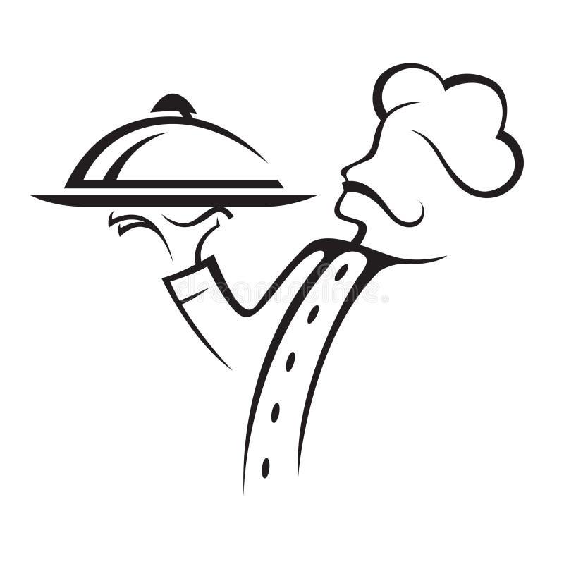 Cuoco unico con il vassoio illustrazione vettoriale