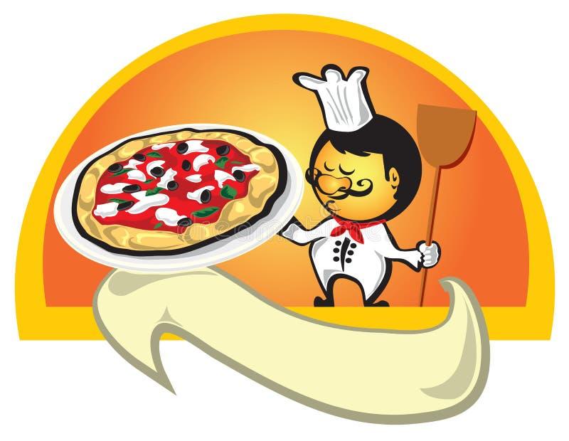 Cuoco unico con la bandiera della pizza fotografia stock libera da diritti