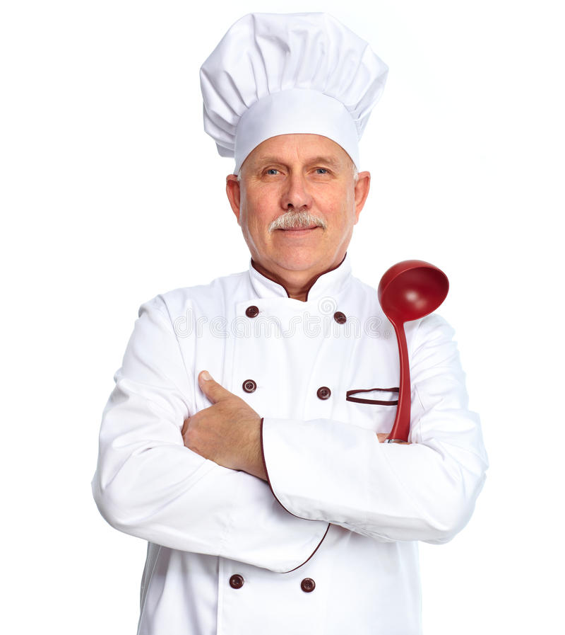 Cuoco unico con la siviera fotografie stock libere da diritti