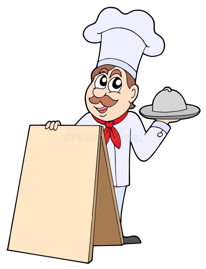 Cuoco unico con la tabella illustrazione vettoriale