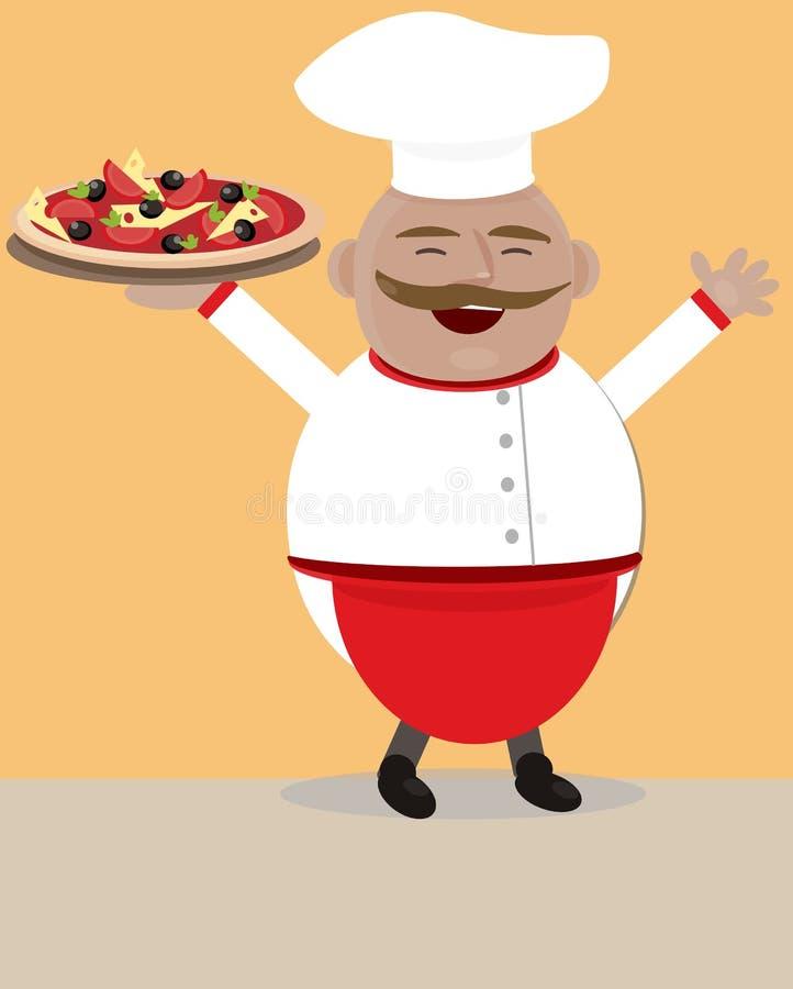 Cuoco unico con pizza illustrazione di stock