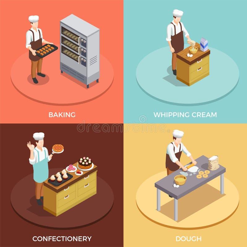 Cuoco unico Concept Icons Set della confetteria illustrazione di stock