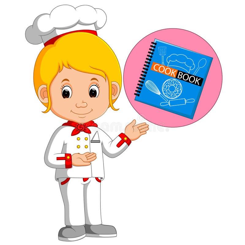 Cuoco unico With Cookbook della ragazza royalty illustrazione gratis