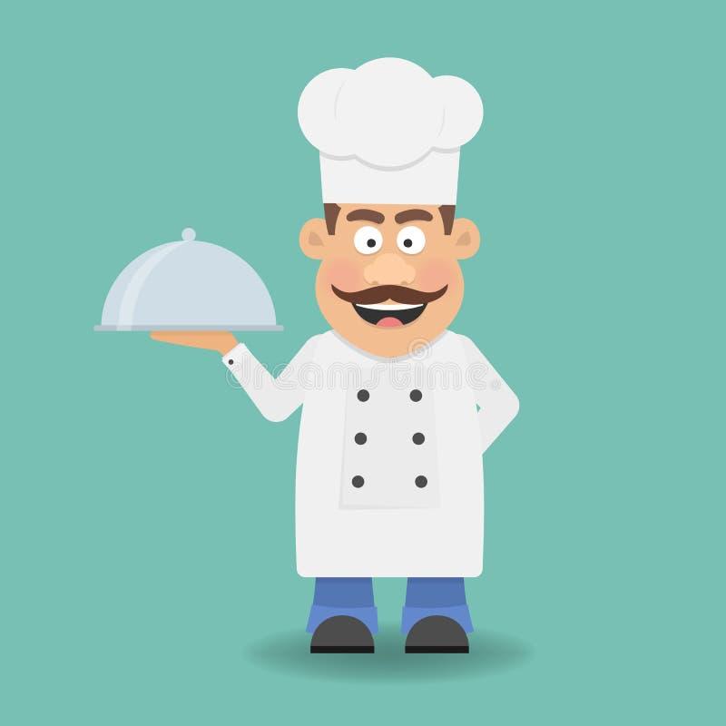 Cuoco unico, cuoco o Kitchener sorridente Personaggio dei cartoni animati Icona piana royalty illustrazione gratis