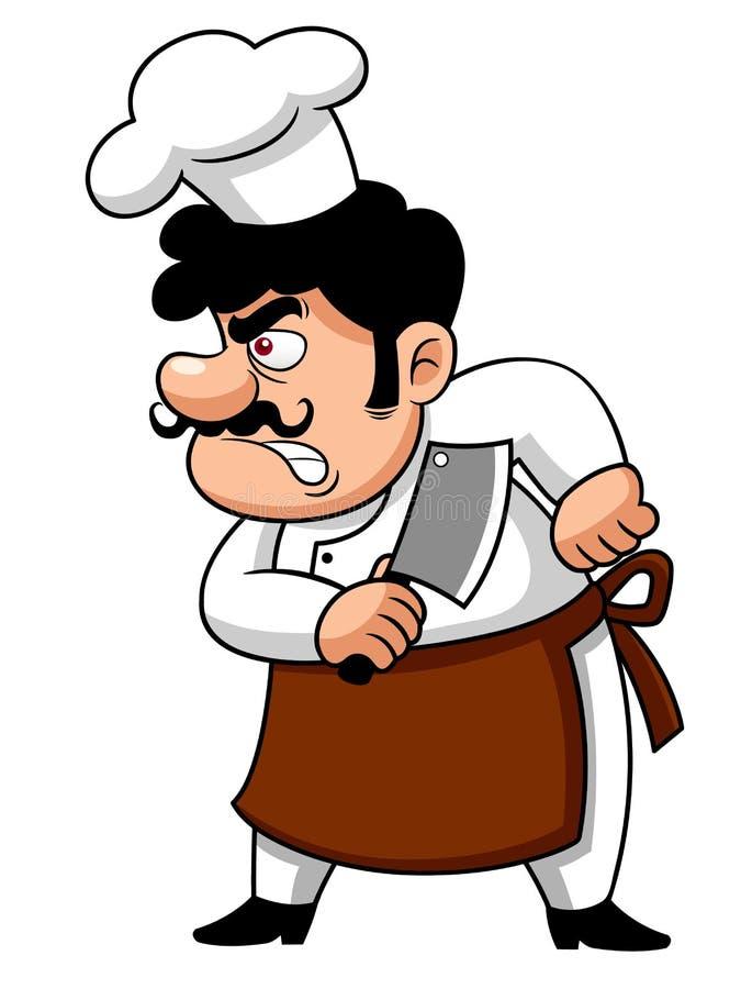 Cuoco unico del fumetto arrabbiato royalty illustrazione gratis