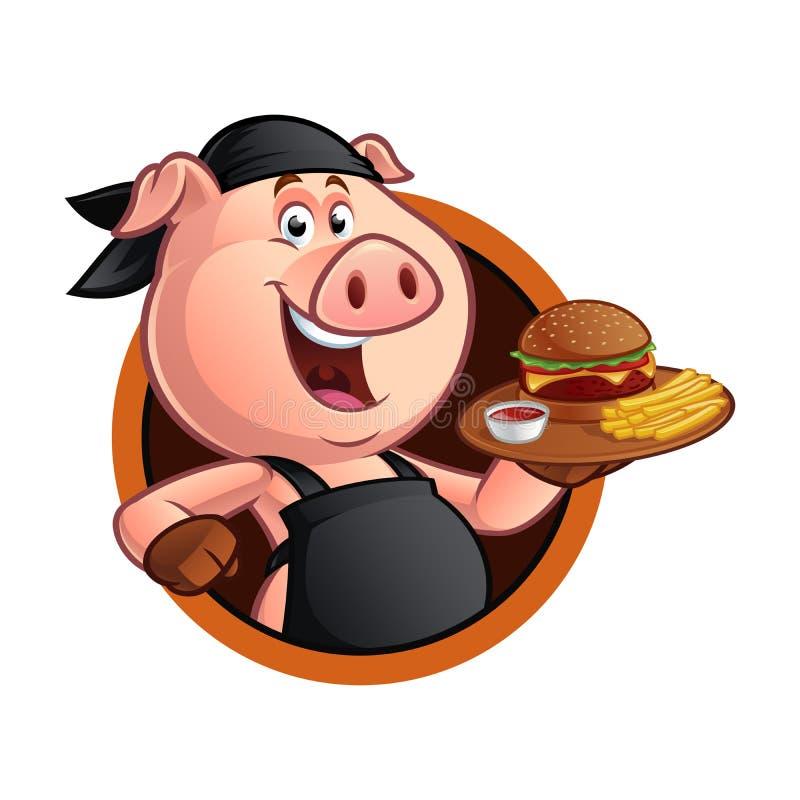 Cuoco unico del maiale del fumetto royalty illustrazione gratis