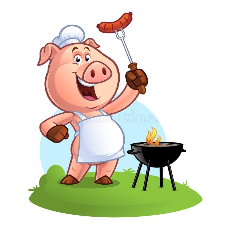 Cuoco unico del maiale del fumetto illustrazione di stock