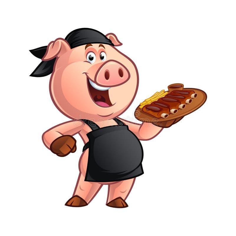 Cuoco unico del maiale del fumetto illustrazione vettoriale