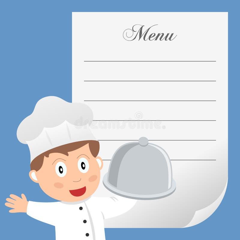 Cuoco unico del ristorante con il menu in bianco illustrazione di stock