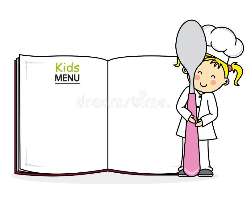 Cuoco unico della bambina illustrazione di stock