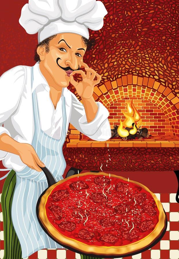Cuoco unico della pizza illustrazione vettoriale