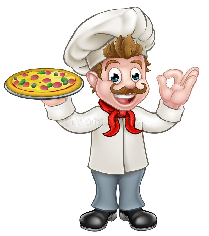 Cuoco unico della pizza illustrazione di stock
