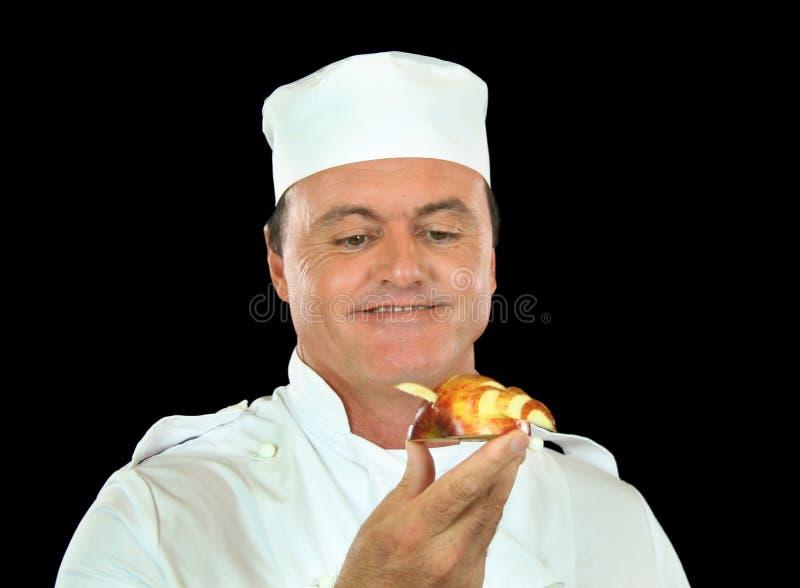 Cuoco unico della scultura del Apple fotografia stock