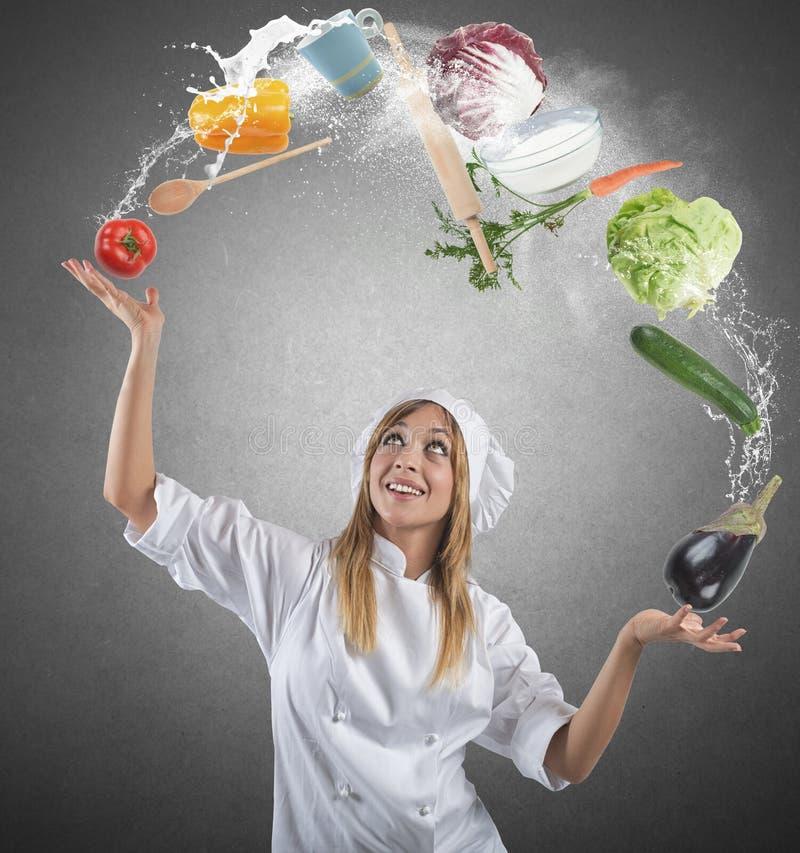 Cuoco unico delle giocoliere fotografia stock libera da diritti