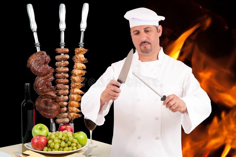 Cuoco unico di Churrascaria fotografie stock libere da diritti