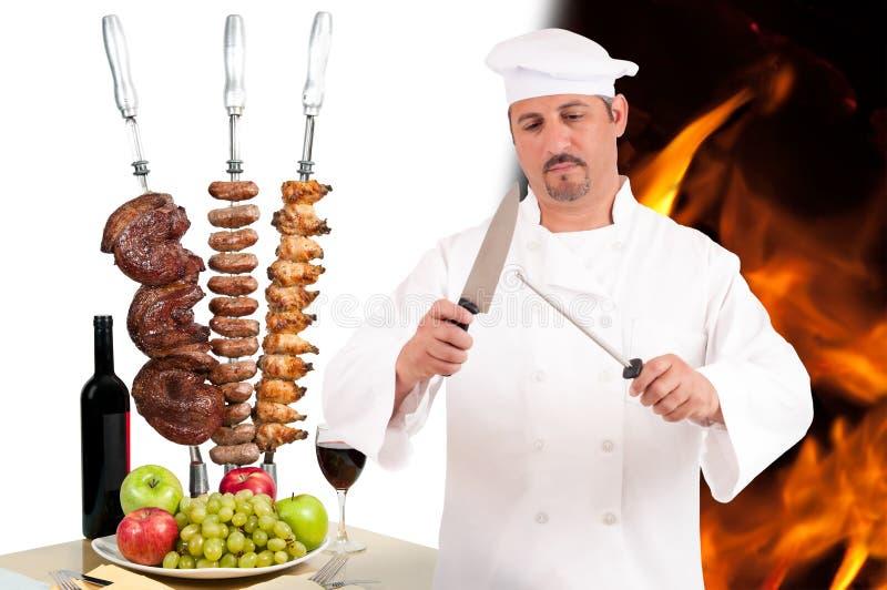 Cuoco unico di Churrascaria immagini stock libere da diritti