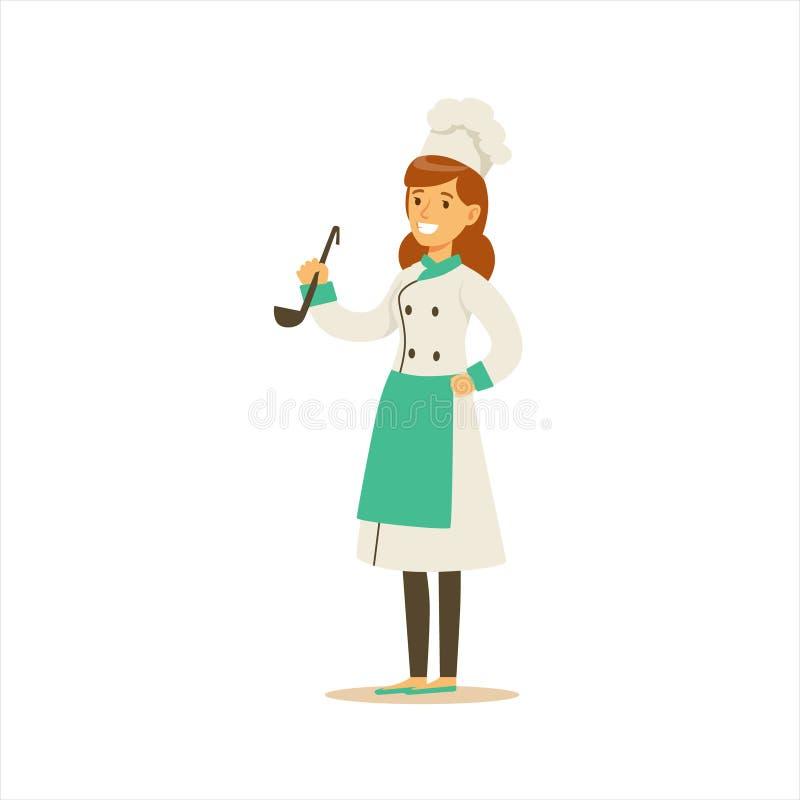 Cuoco unico di cottura professionista Working In Restaurant della donna che porta uniforme tradizionale classica con il personagg royalty illustrazione gratis