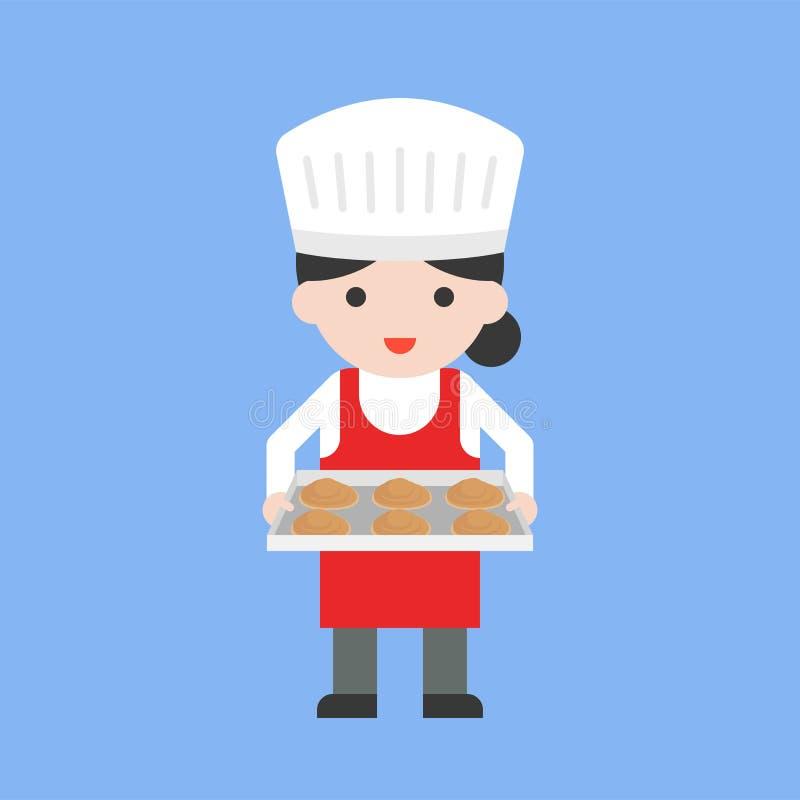 Cuoco unico di pasticceria femminile sveglio che tiene vassoio bollente e pasta fresca, fla royalty illustrazione gratis
