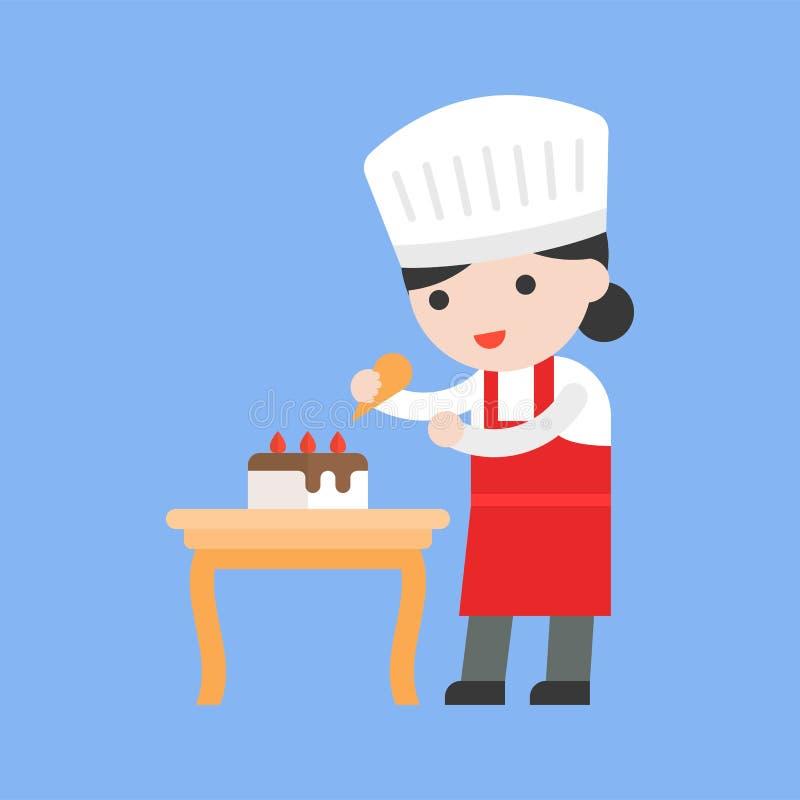 Cuoco unico di pasticceria sveglio che decora dolce, progettazione piana illustrazione vettoriale
