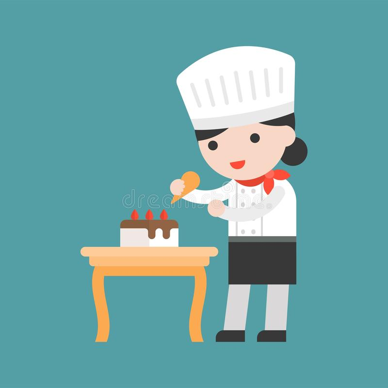 Cuoco unico di pasticceria sveglio che decora dolce, progettazione piana illustrazione di stock
