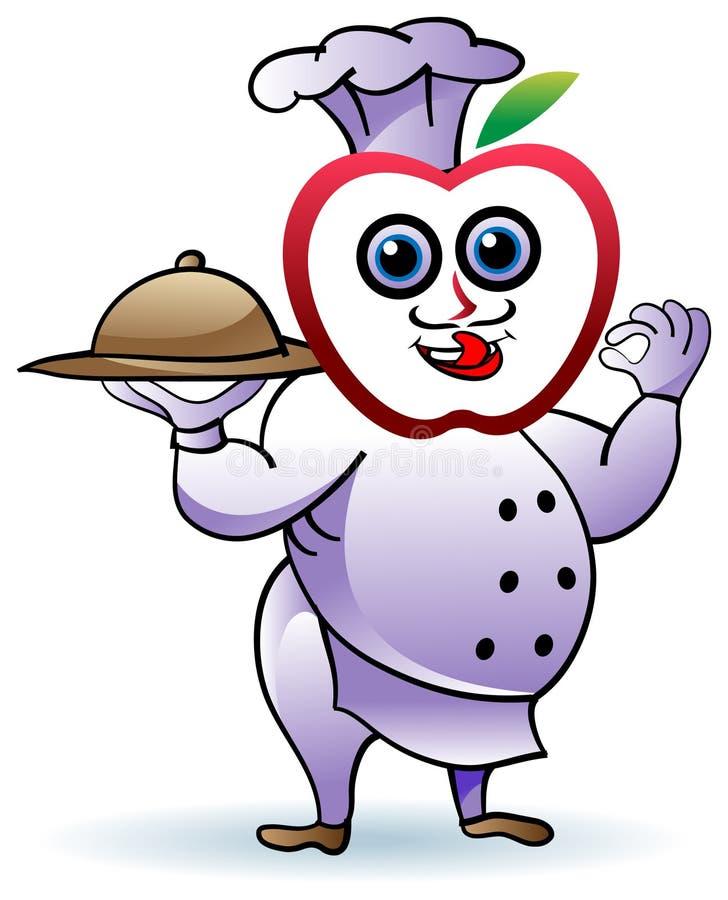 Cuoco unico divertente della mela illustrazione vettoriale