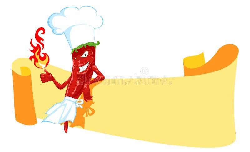 Cuoco unico e bandiera del peperoncino rosso illustrazione di stock