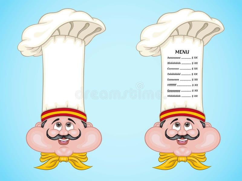Cuoco unico e menu spagnoli sul cappello con alimento della Spagna illustrazione vettoriale