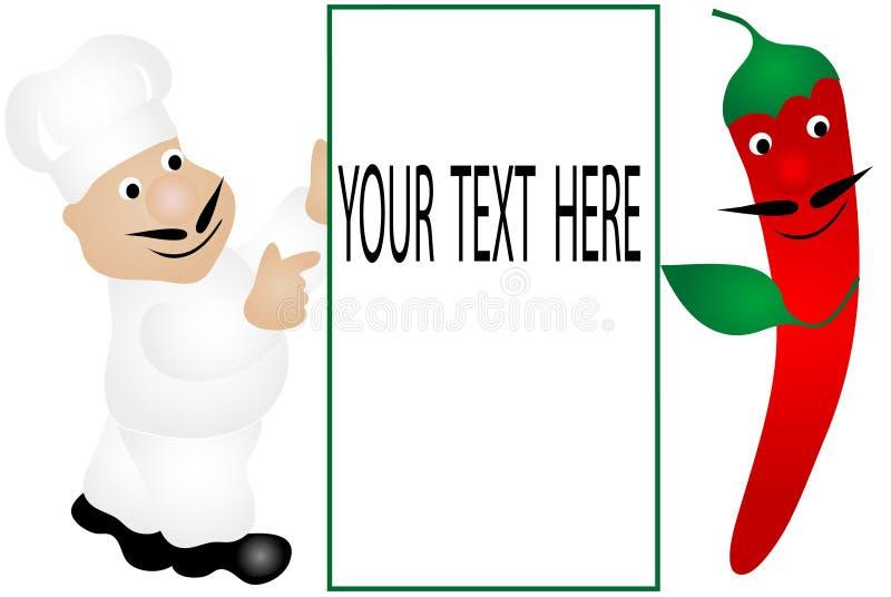 Cuoco unico e peperoncino rosso illustrazione vettoriale