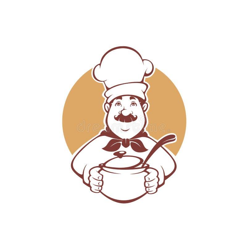 Cuoco unico felice del fumetto che tiene un vaso della minestra, illustrazione di vettore per y illustrazione vettoriale