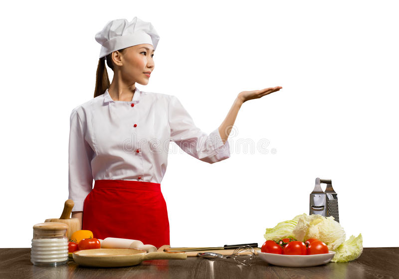 Cuoco unico femminile asiatico fotografia stock libera da diritti