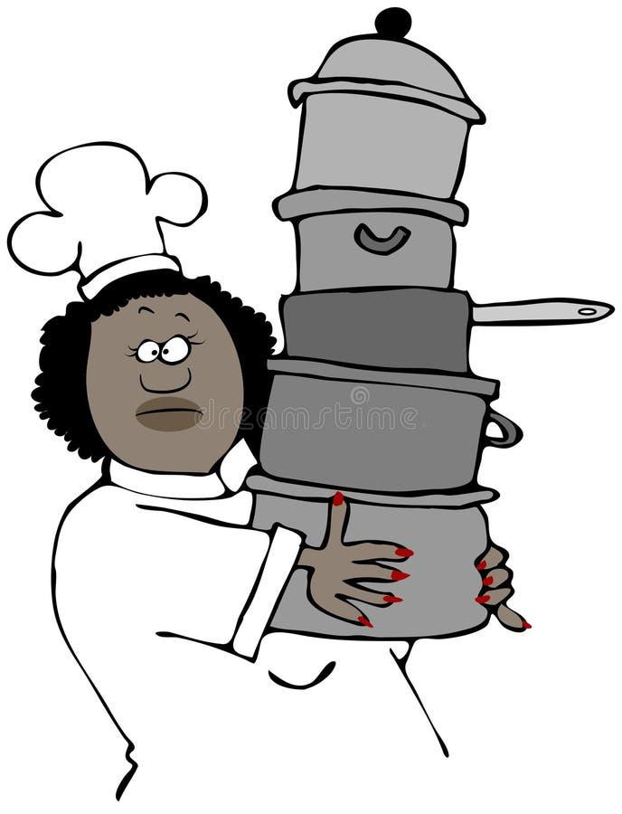 Cuoco unico femminile che porta una pila di vasi royalty illustrazione gratis