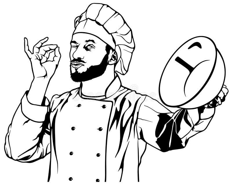 Cuoco unico Gesture Delicious illustrazione vettoriale