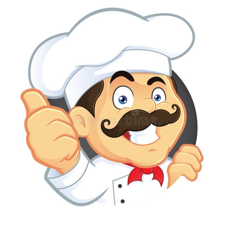 Cuoco unico Giving Thumbs Up illustrazione di stock