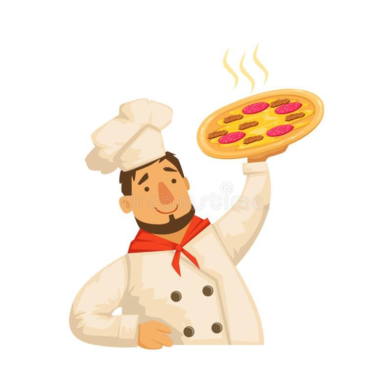Cuoco unico Holding Pizza, parte della raccolta da portar via di servizio di distribuzione degli alimenti a rapida preparazione d royalty illustrazione gratis