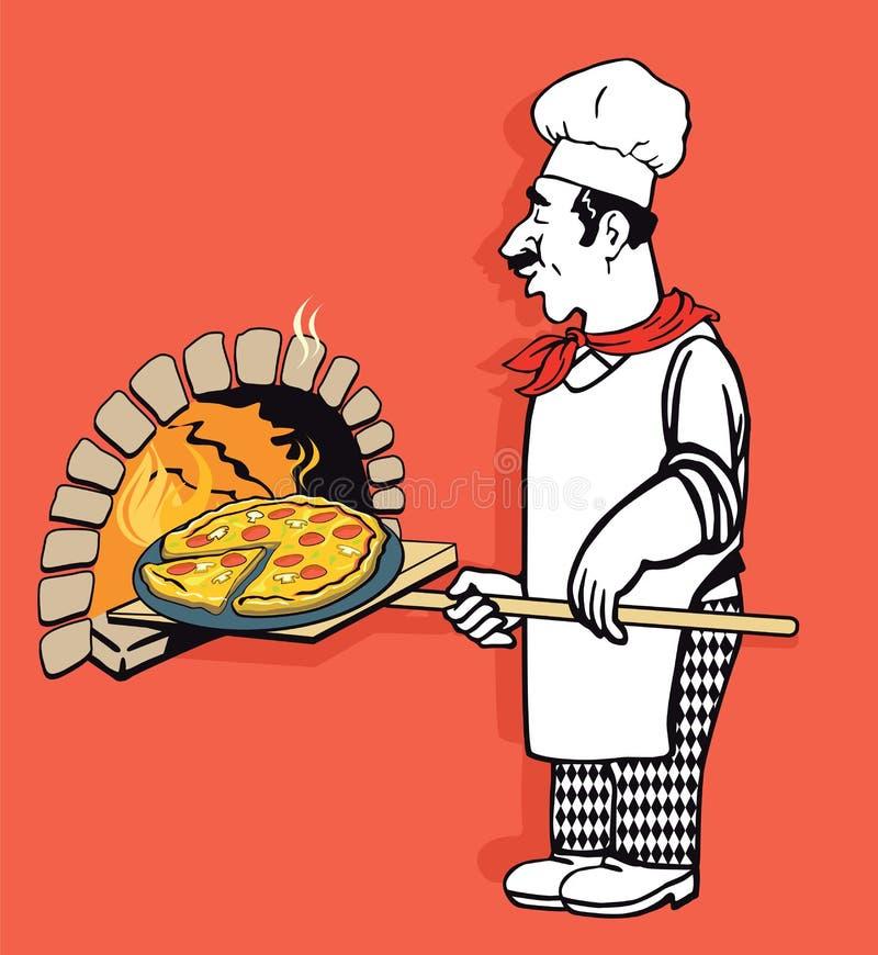 Cuoco unico illustrato della pizzeria royalty illustrazione gratis