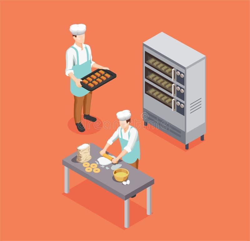 Cuoco unico Isometric Composition della confetteria illustrazione di stock