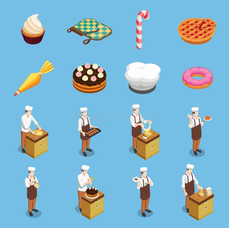 Cuoco unico Isometric Icons Set della confetteria royalty illustrazione gratis