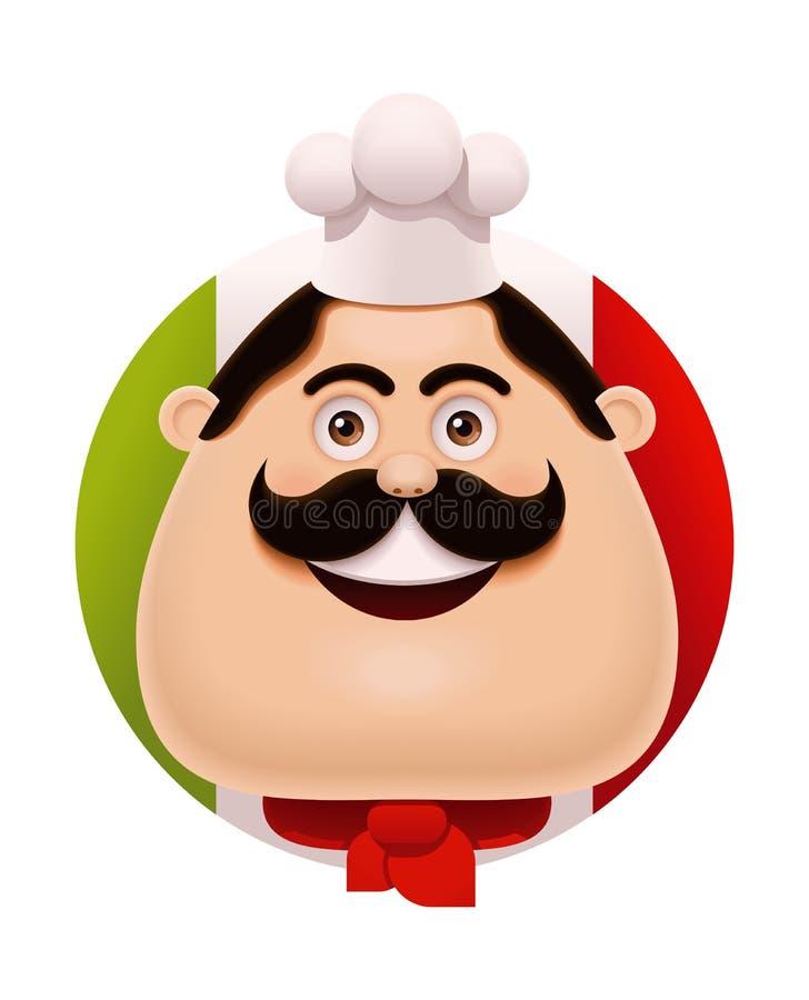 Cuoco unico italiano di vettore con l'icona dei baffi royalty illustrazione gratis