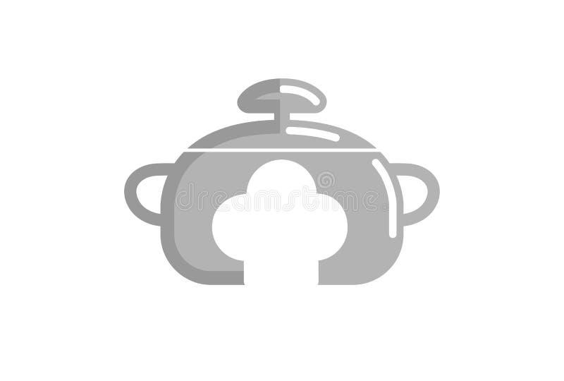 Cuoco unico Logo del fornello di cucina illustrazione vettoriale