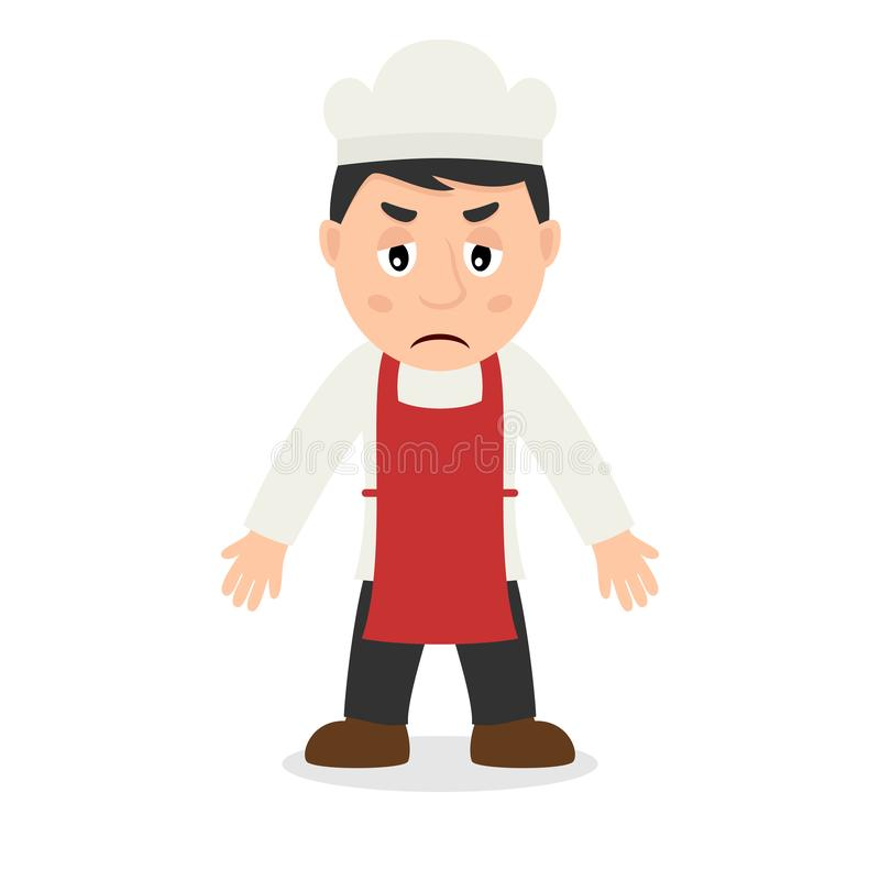 Cuoco unico maschio triste Cartoon Character royalty illustrazione gratis