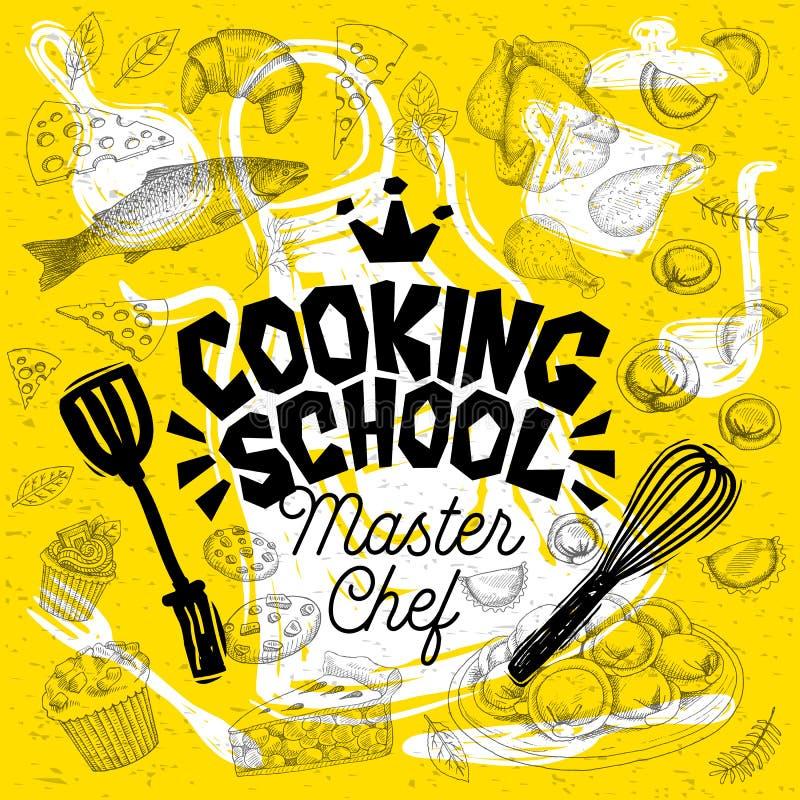 Cuoco unico matrice di stile di schizzo che cucina l'iscrizione della scuola Segno, logo, emblema illustrazione vettoriale