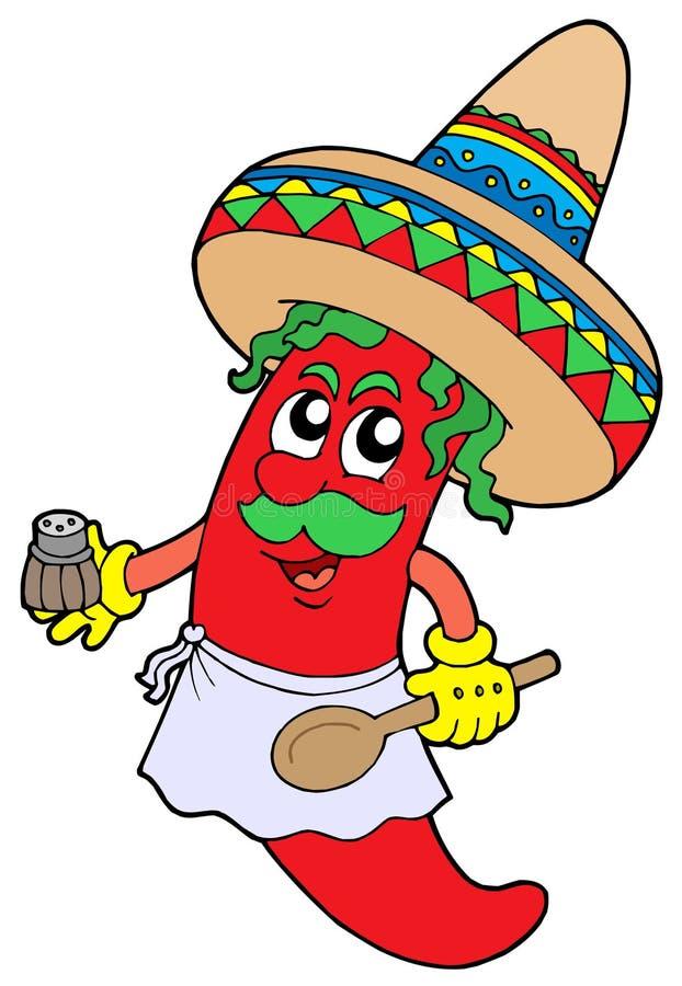 Cuoco unico messicano dei peperoncini rossi illustrazione vettoriale