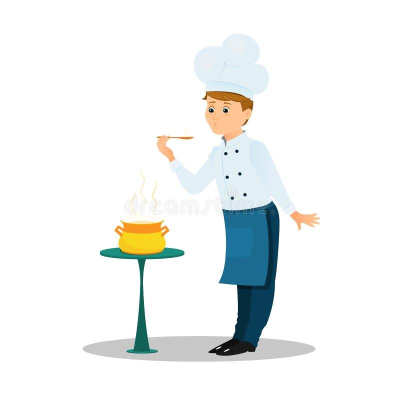 Cuoco unico professionista con un vaso della minestra e del cucchiaio sulla tavola illustrazione di stock